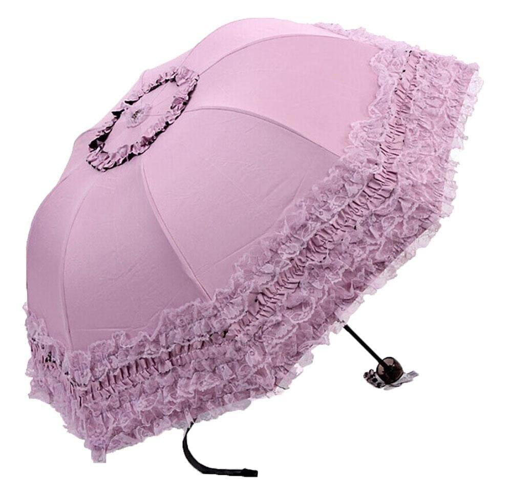 weizhe Lace Twice Folding Travel Umbrella Sun UV Protection Umbrella (Pink Purple) - intl