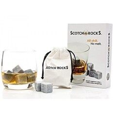Whiskey Rocks Gift Set: Set Of 9 Artisinal Hand Cut Whisky Chilling Rocks With White Cotton Carrying Pouch Packaged In Scotch Rocks Gift Box