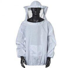 White Beekeeper Beekeeping Protective Veil Smock Bee Suit Equipment Coat Jacket