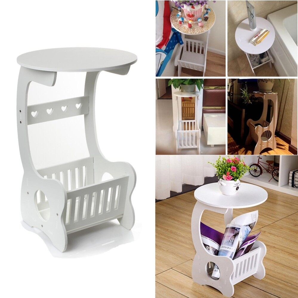 White Round Coffee Bedside Sofa Side End Table Holder Rack & Free Screwdriver By Esynic Official Store.