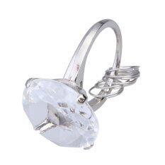 [Uebfashion] White Love Super Big Diamond Ring Keychain for Your Lover Romantic Gift