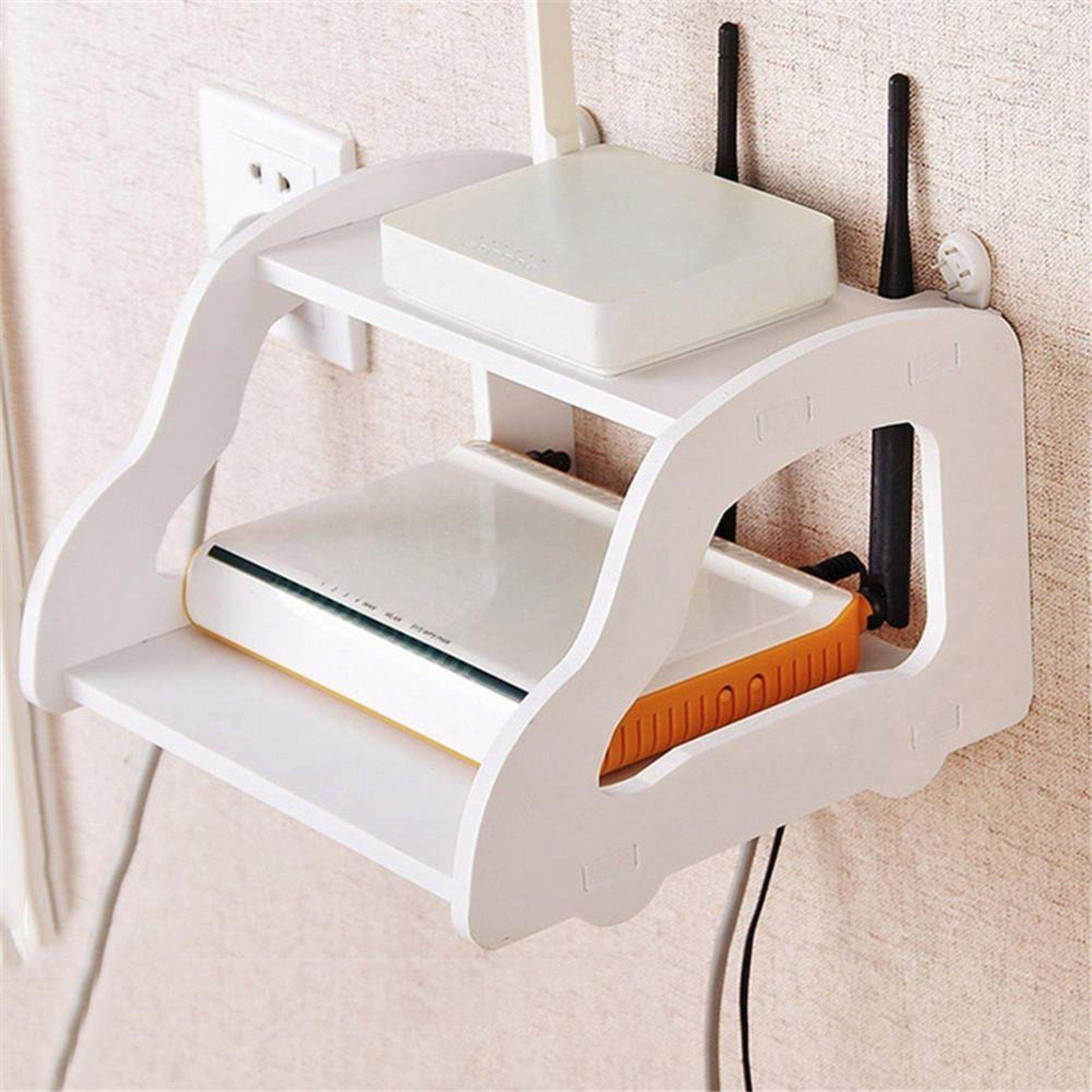 White Storage Decorative Wall Shelf Home Wifi Router Shelf Wall Mounted TV  Set Up Box Storage ...