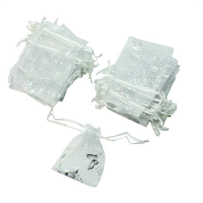 Wholesale Beautiful 50 Pcs White Butterfly Organza Jewelry Gift Candy Pouch Bags - intl