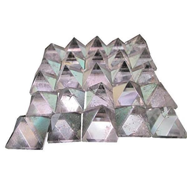 WholesaleGemShop Beautiful Lot Of 10 Pieces Clear Crystal Quartz Gemstone Pyramids Crystal Reiki Vaastu Healing