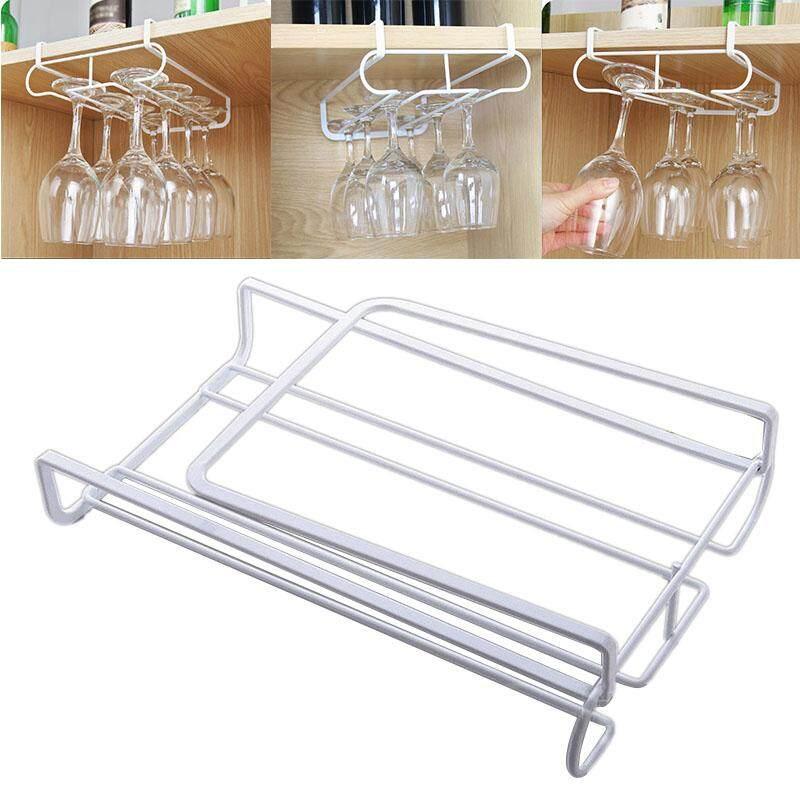 Wine Glass Rack Metal Holder Under Cabint Stemware Hanger Shelf Bar Kitchen - Intl By Yiuu.