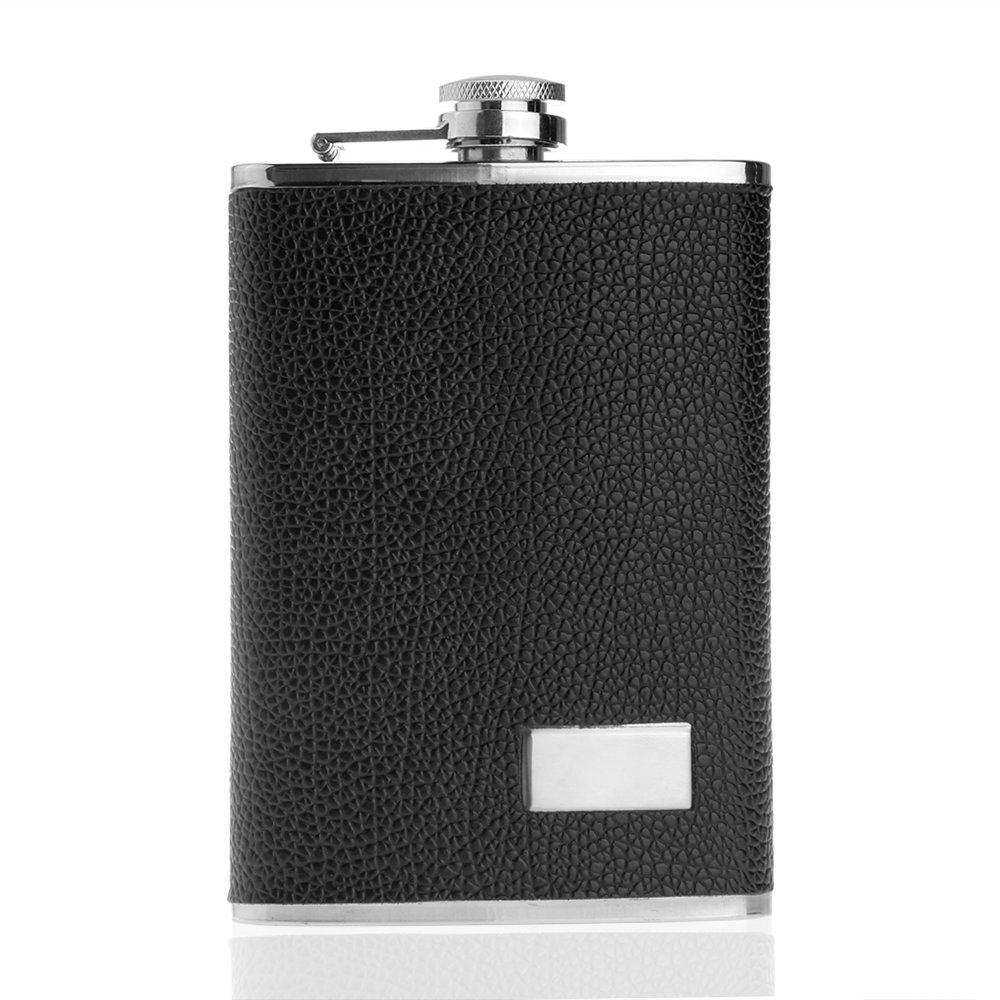 ... WiseBuy 9oz Stainless Steel Minuman Alkohol Flask Black Hip Liquor Pocket Leather