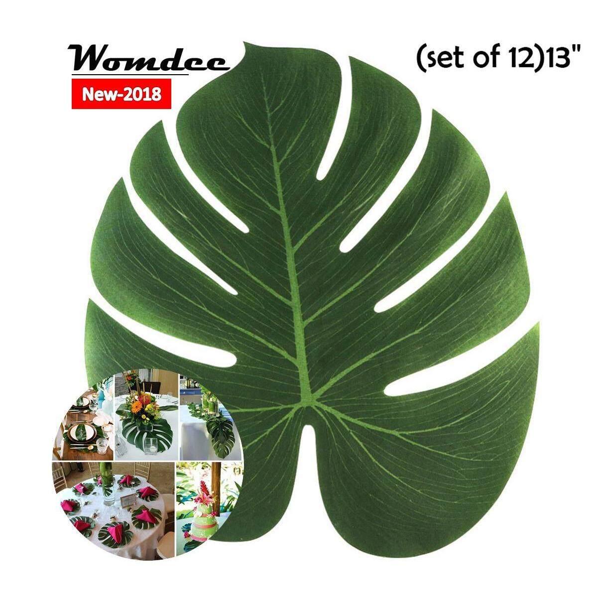 Womdee 12 แพ็คปาล์มเขตร้อนใบ, 13 นิ้วปาล์มเทียม Leaves อุปกรณ์งานปาร์ตี้สำหรับ Hawaiian เทศกาลฮาวายปาร์ตี้สวนเครื่องประดับโต๊ะ - Intl By Womdee.