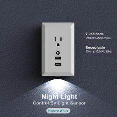Womdee 2.4A Quick Charge Dual USB Wall Plate Charger With LED Sensor Night Light(US PLUG)
