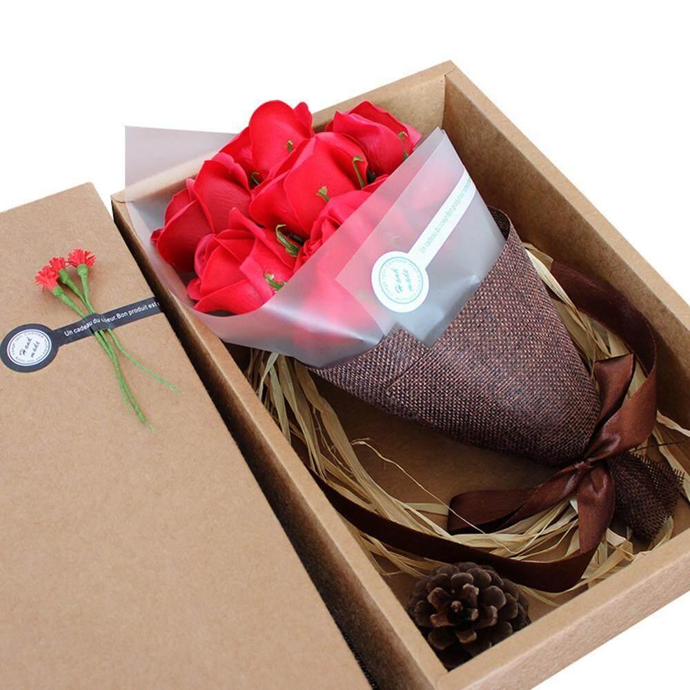 Xinning 7 Paket Bunga Mawar Sabun dengan Kotak Hadiah Minyak Atsiri Tumbuhan Sabun Mawar Set Tamu