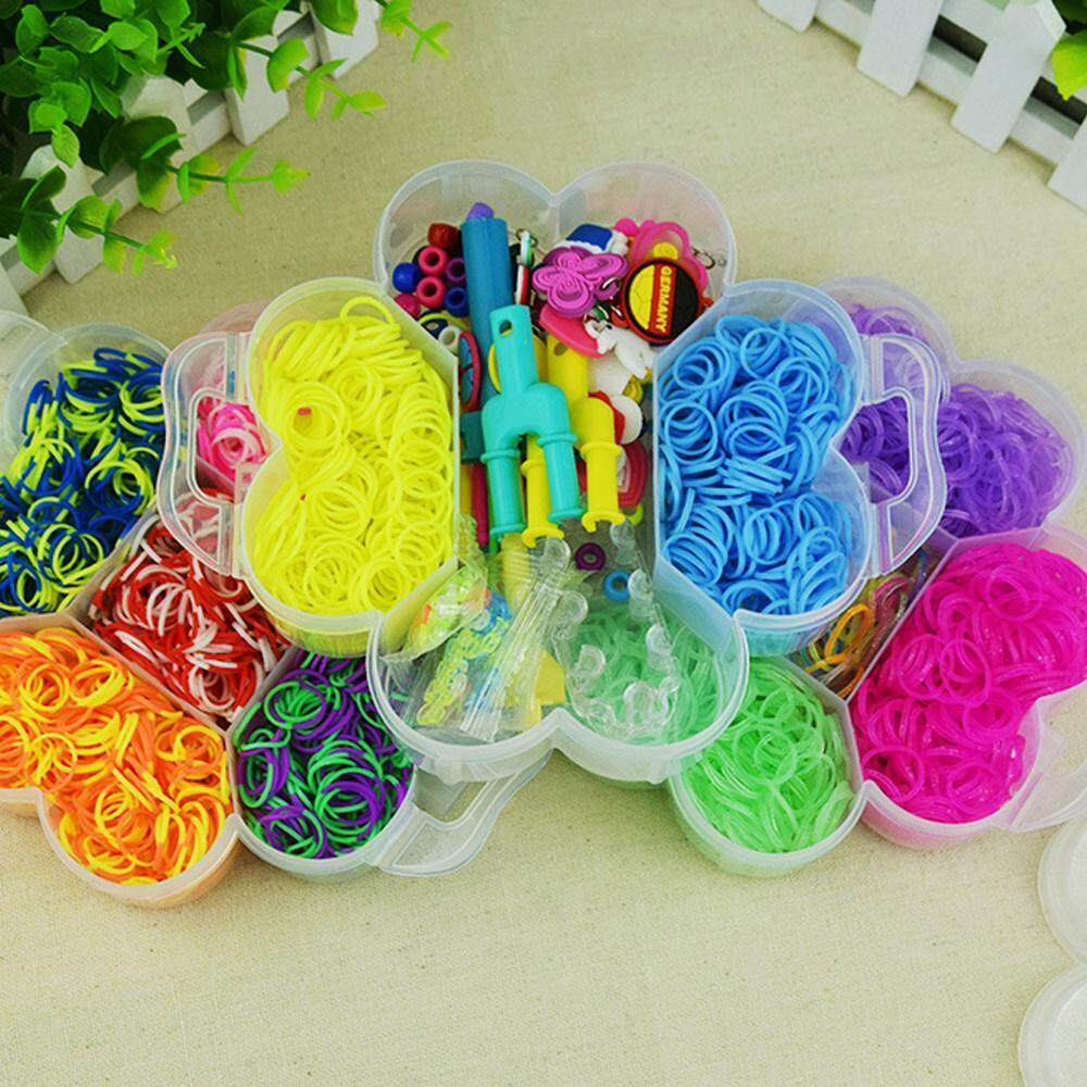 Lowest Price Womdee Rainbow Looms 4600 Authentic Rainbow Mega Loom Rubber Bands 4500 Premium Quality Rubber Bands 15 Brilliant Colors Diy Personalized Organizer Intl