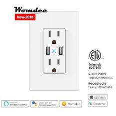 Womdee US Plug Phone Remote Control Wifi Smart Wall Socket Power Outlet With USB Port