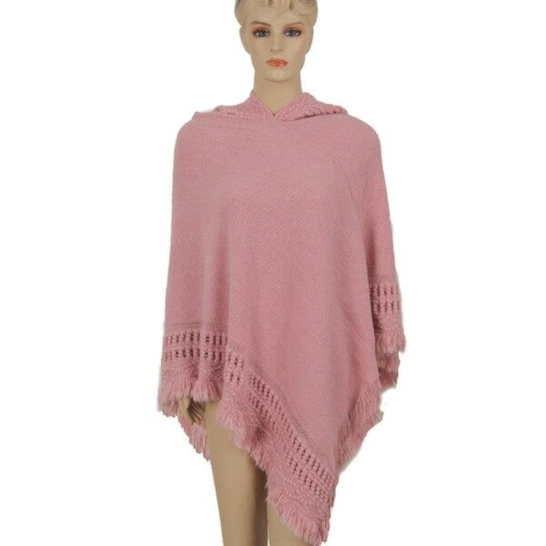 OS Womens Hooded Cape Solid Knitted Winter Poncho Sweater Shawl Cape with Fringed Hem