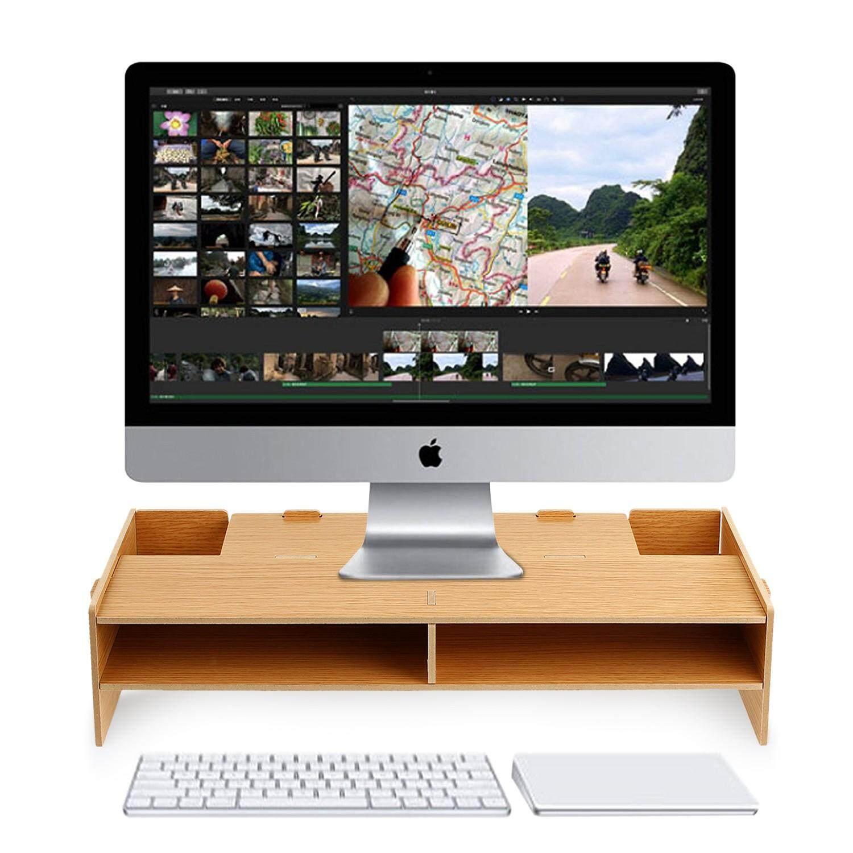 Wood Desktop Monitor Stand LCD Computer Screen Riser Shelf Plinth For TV Laptop - intl