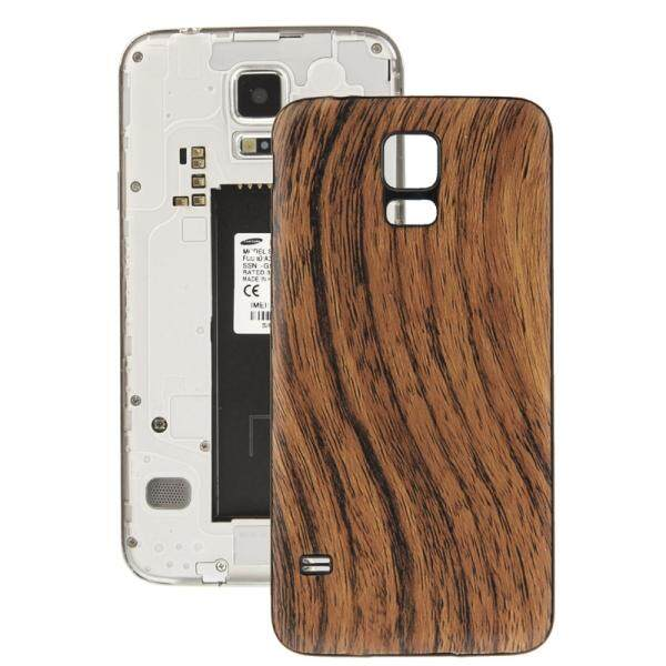 Wood Texture Plating Plastic Material Replacement Back Cover for Samsung Galaxy S5 / G900 (Brown)
