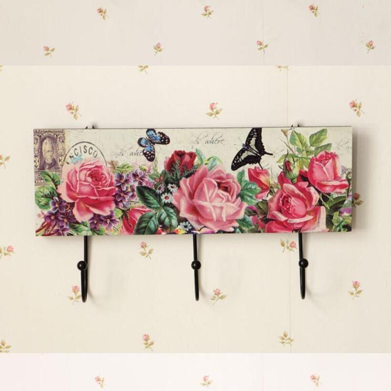 Wooden Clothes Keys Wall Hook Hanger Organizer Wood Coat Sundries Hanging Hooks Holder Home Wall Decor (B)16x30cm