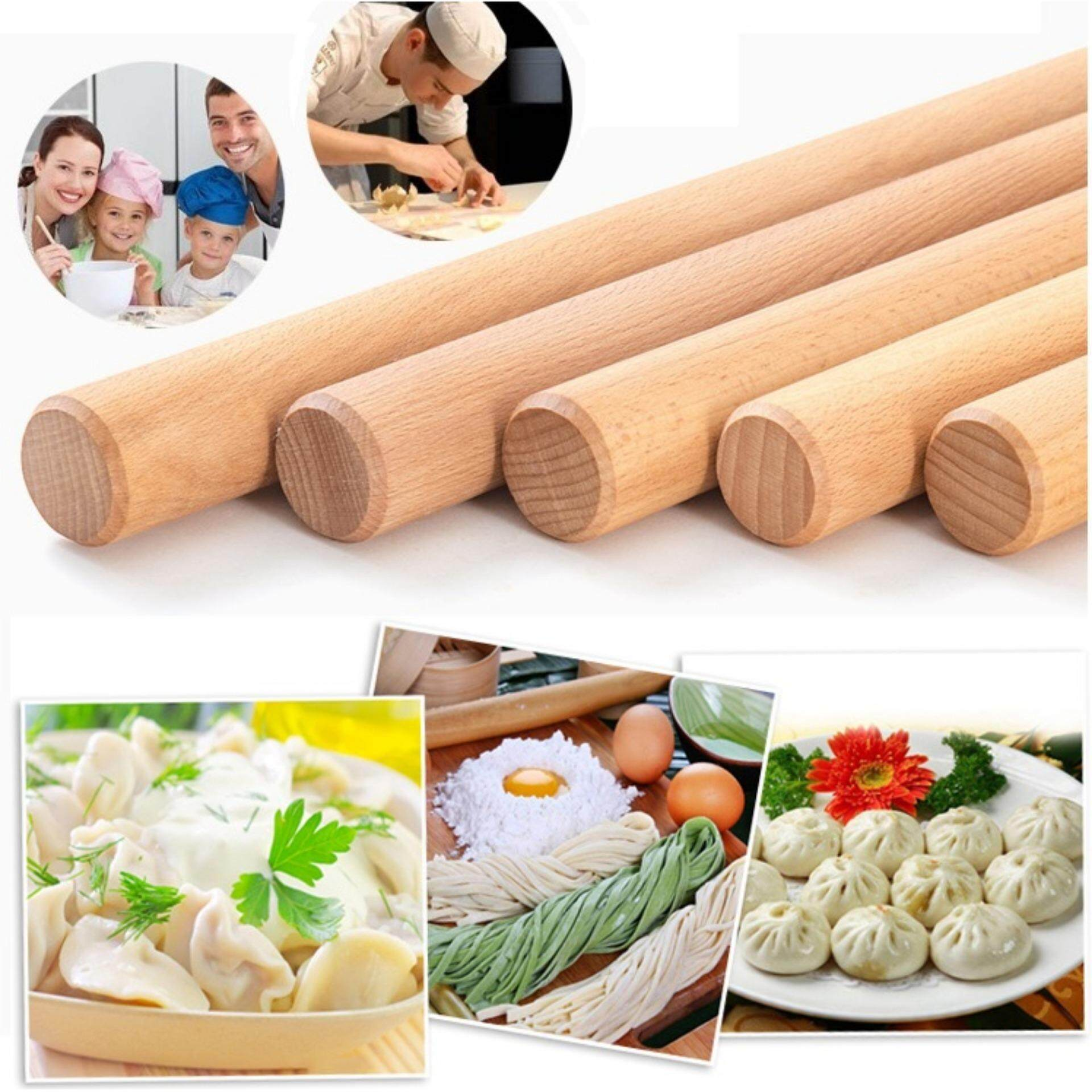 Wooden Flour Dough Rolling Pin Roller Stick 9.2 Inch Length Wood Color - intl