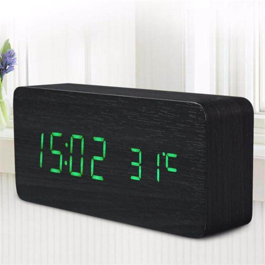 MegaStar  Wooden LED Alarm Clock with Old Style Temperature Sounds Control