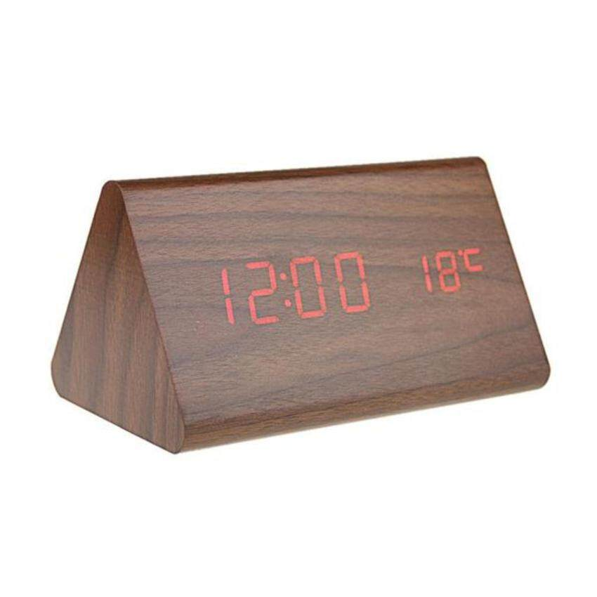 GreatCare Wooden Voice Activated Desk Red LED Digital Alarm Clock Powered  by DC 6V USB input e5518c4071