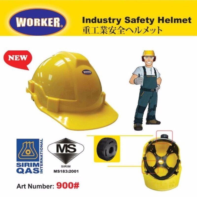 WORKER INDUSTRIAL SAFETY HELMET (RACHET) SIRIM CERTIFIED YELLOW/WHITE/BLUE [ GEOLASER ]