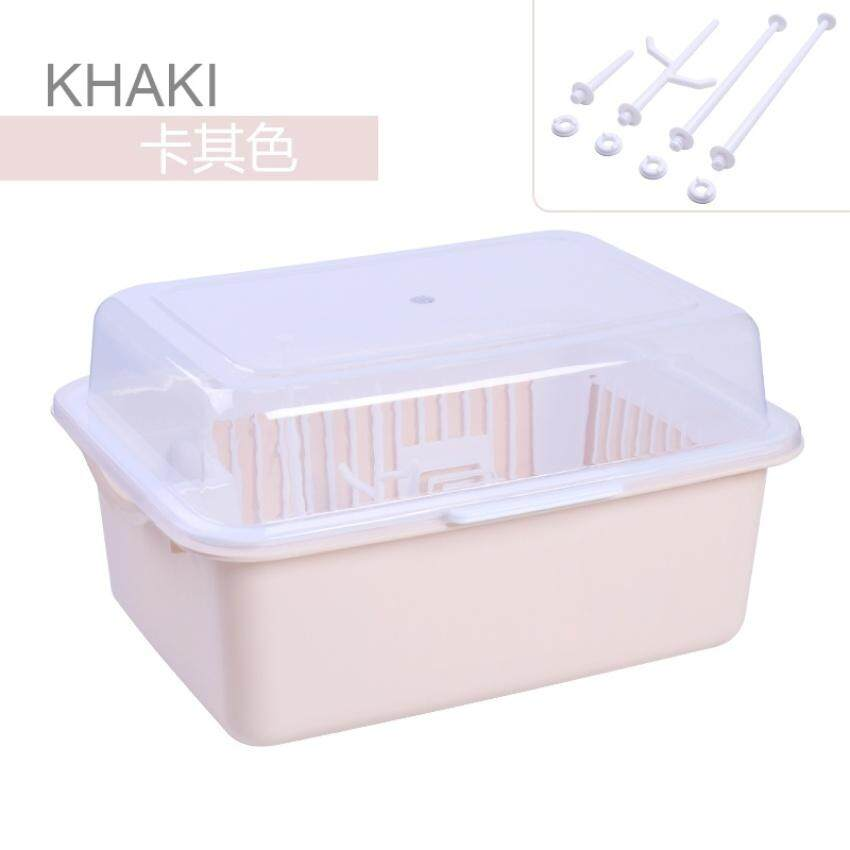 HUADE Baby Bottle Storage Box Dishes Tableware Storage Plastic Flip Dustbaby Milk Powder Drain Water Cupboard Cutlery Box