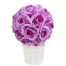 Xmas Decor Simulation Encryption Wedding Party Rose Flower Ball Outdoor Decoration Purple 20cm 1PCS