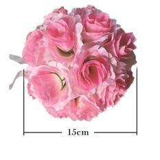 Xmas Decor Simulation Encryption Wedding Party Rose Flower Ball Outdoor Decoration White Color:Pink+White