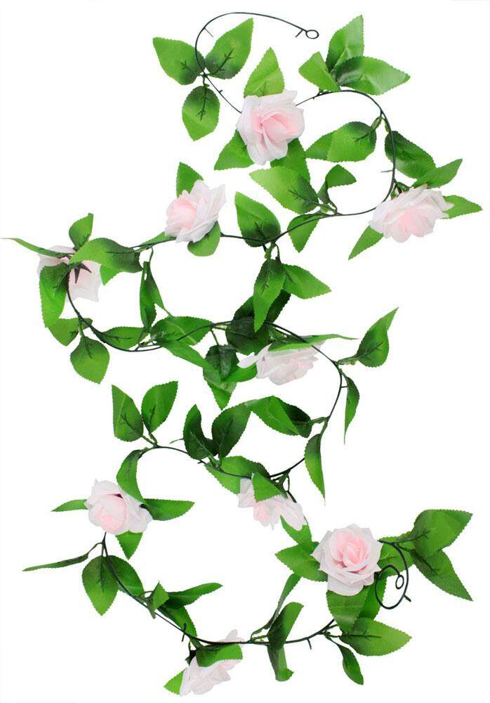 yazhang Hanging Artificial Vine Silk Rose Flower Decoration, Light Pink - intl
