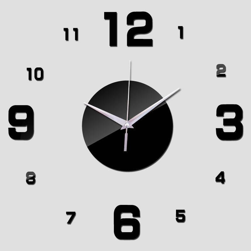 YBC Fashion DIY Nomor Cermin Jam Dinding Rumah Dekorasi Ruang Kantor Stiker Dinding Hitam