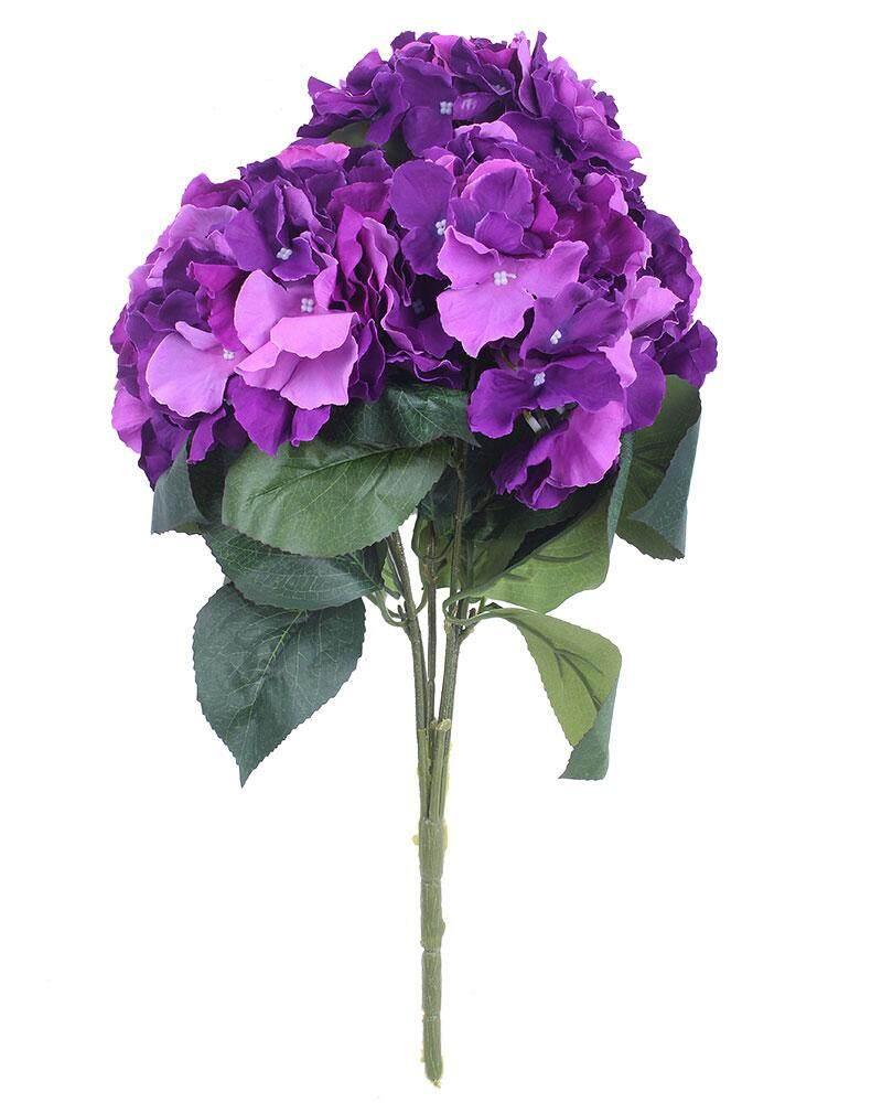 yedatun Artificial Hydrangea Flower 5 Big Heads Bounquet Home Party Wedding Decor(Purple) - intl