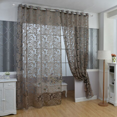 Yika 1Pcs Tulle Curtain Draperies & Curtains 100*250cm (Coffee)