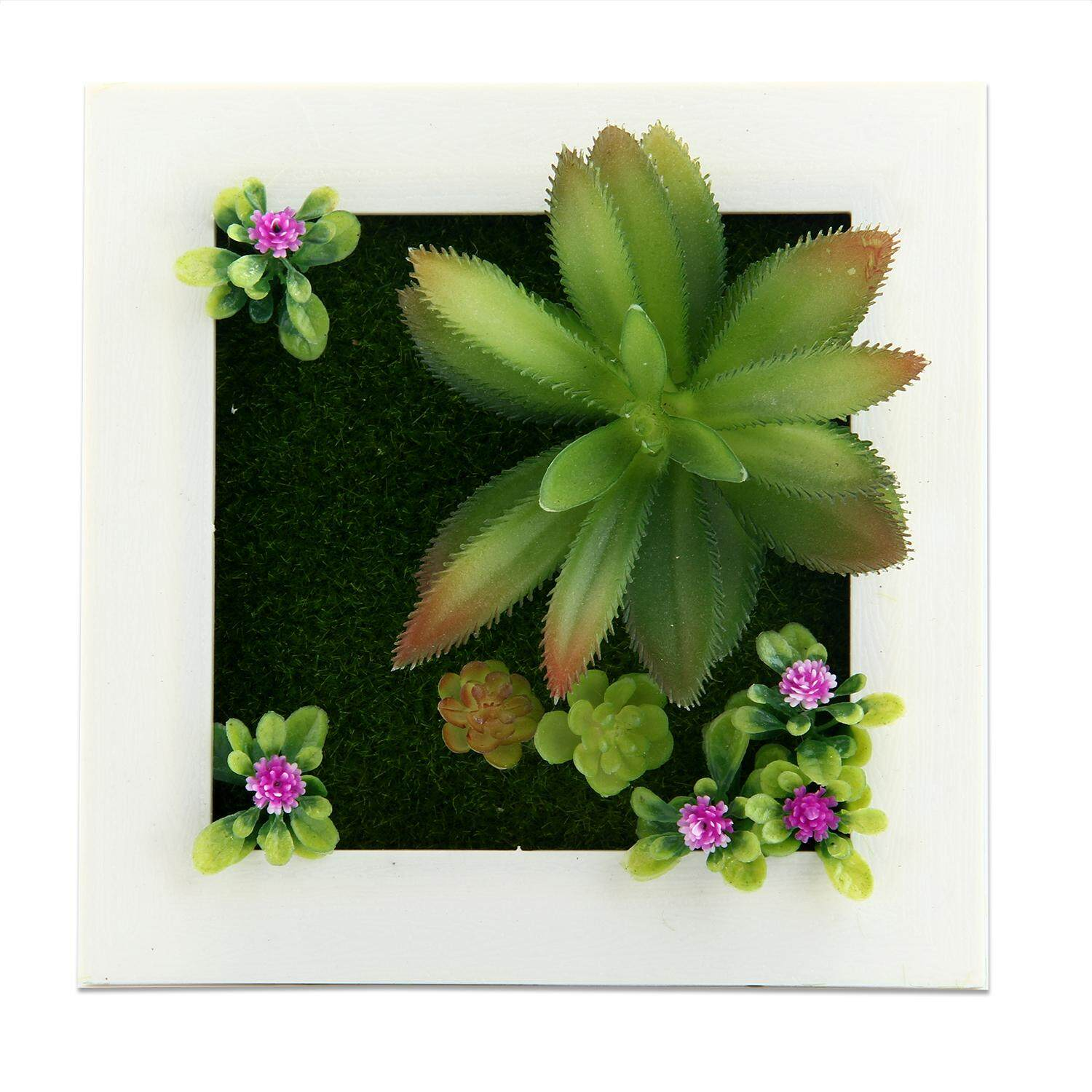 YUESHUNBUHA 3D Imitation Frame Shape Wall Hanging Artificial Flowers Metope Fake Succulents for Decoration (11#) - intl