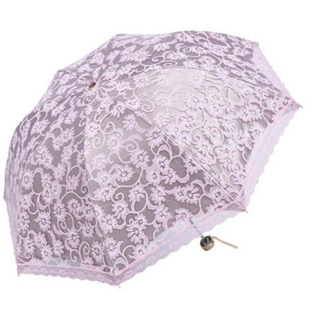 YUESHUNBUHA Compact Lace Wedding Parasol Folding Travel Sun Umbrella UV Block (Apricot) - intl
