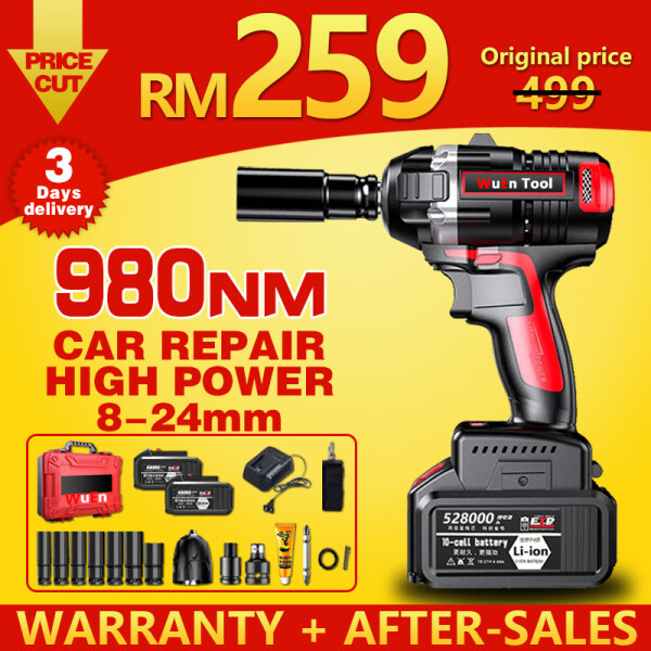 #WUEN#980NM Brushless Cordless Impact Wrench Car Repair + Full set of accessories + 3.0-5.0ah Lithium Battery 1/2inch Driver Spanner Electric Drill High Power Tools Tire Removal Scaffold Steel Frame Installation Same Day Delivery Three Year Warranty