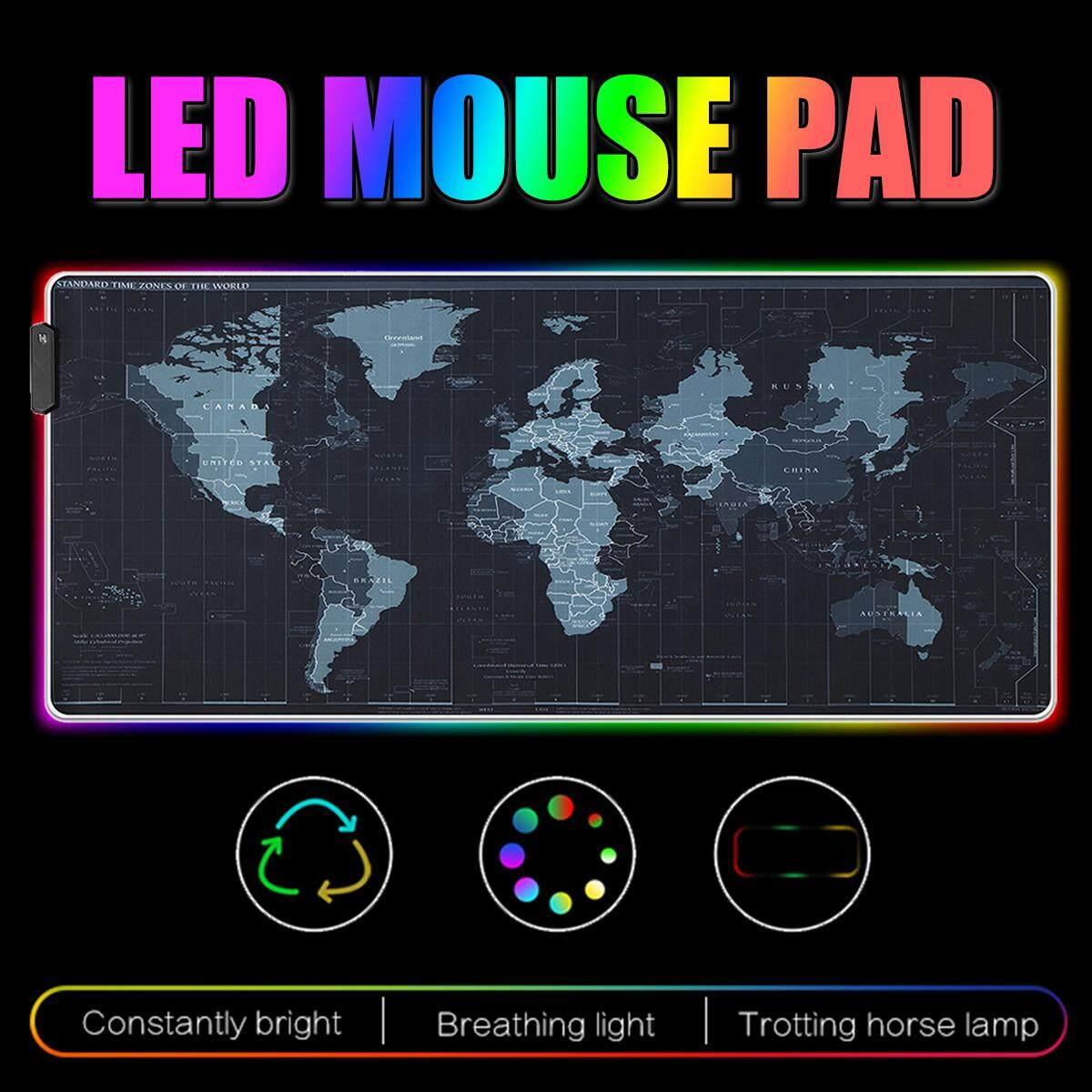 Large RGB Colorful LED Lighting Gaming Mouse Pad Keypad Mat For PC Laptop Malaysia