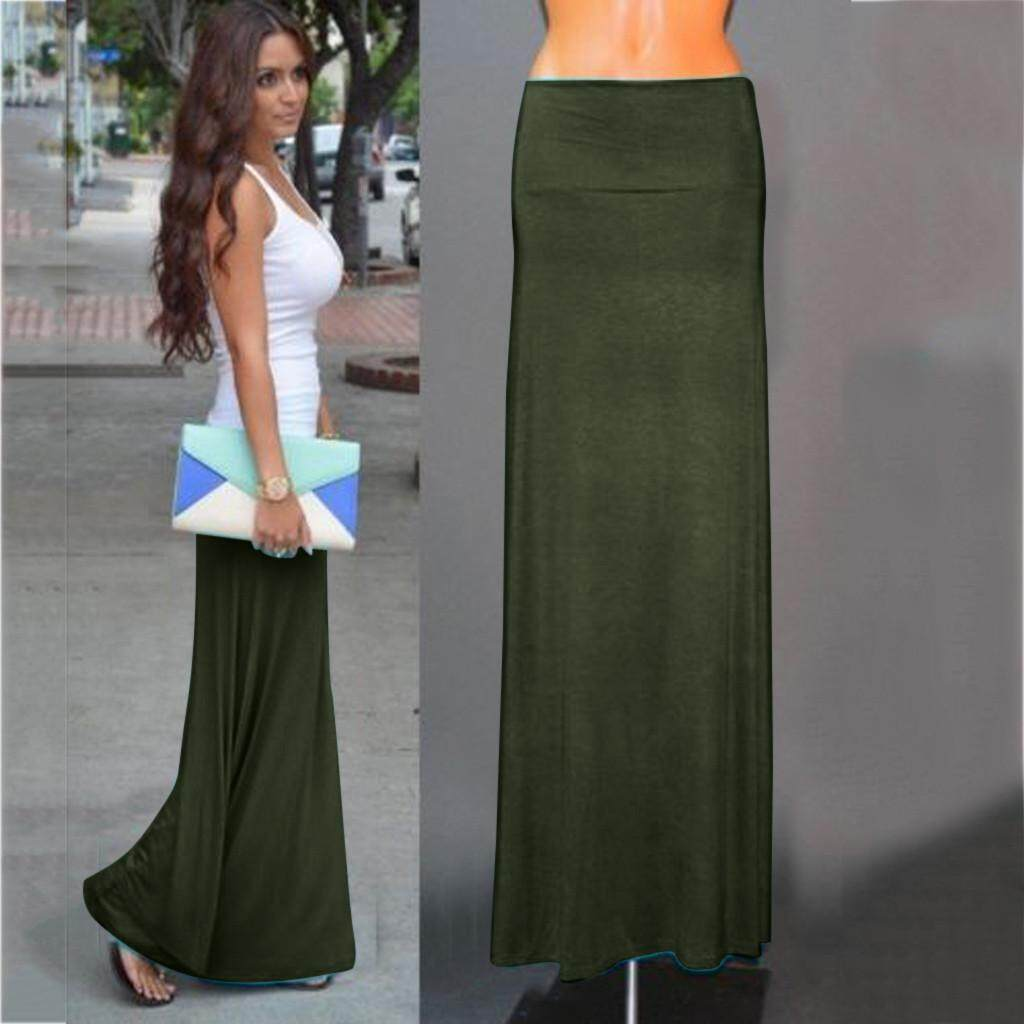 a83d18287304 nagostore Ladies Womens Gypsy Long Jersey Bodycon Maxi Skirt Ladies Skirt
