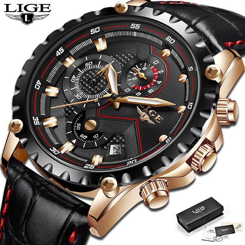 LIGE Men Watches Sports Leather Waterproof Luminous Analog Quartz Chronograph Calendar Jam Tangan Lelaki Malaysia