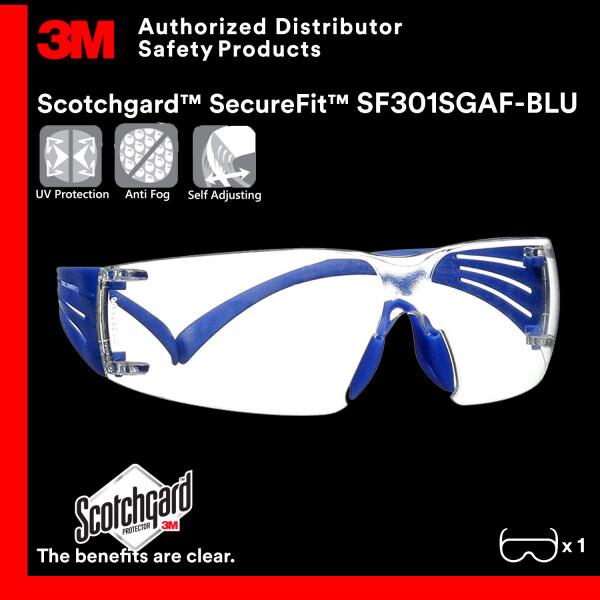 3M SF301SGAF-BLU SecureFit Safety Glasses with Clear Scotchgard™ Anti-fog Lens / Lightest Safety Eyewear/ Scotchgard Anti-fog Coating [Clear Lens/ Blue Temple]