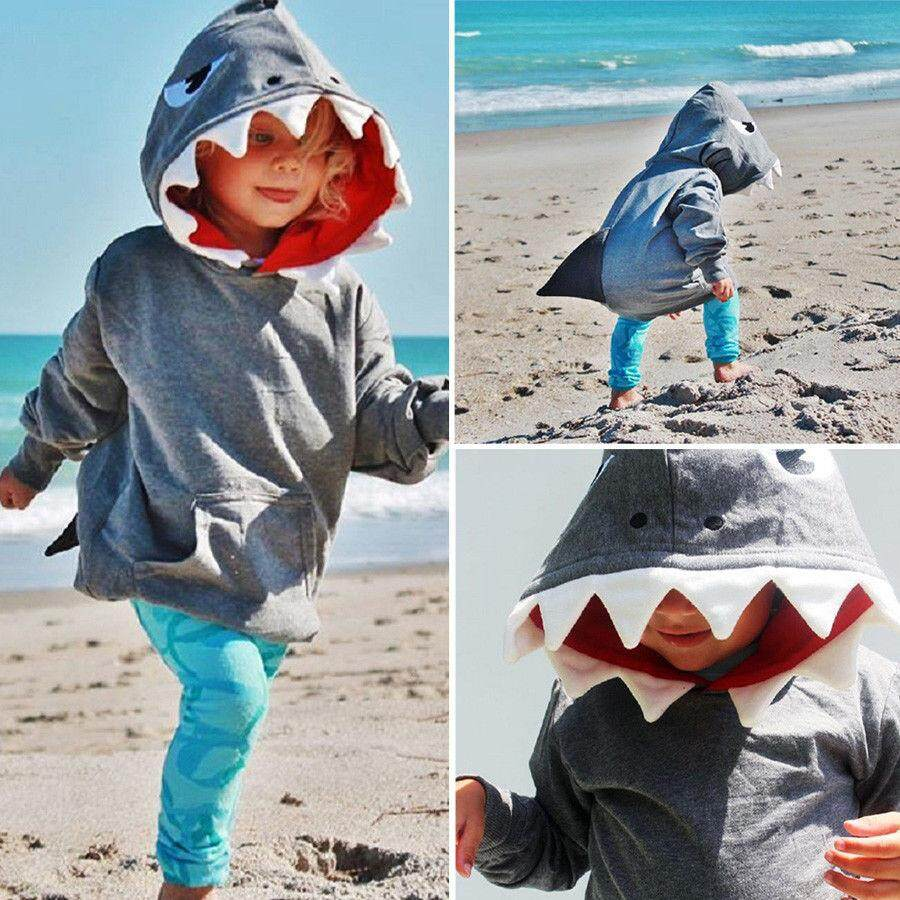 Toddler Kids Boys Shark Hooded Tops Hoodie Jacket Coat Outerwear Casual By Lg566.
