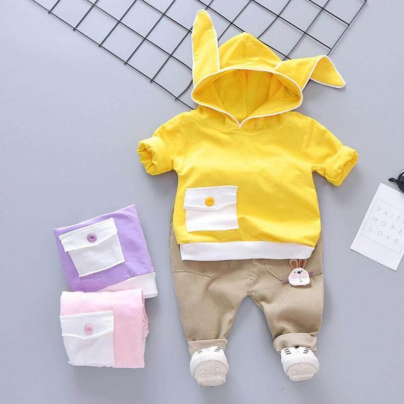 Bộ 2 Tập Đi Trẻ Em Bé Trai/Bé Gái Cho Bé Có Mũ Trùm Đầu Bộ Áo Tai Thỏ Túi Áo + Quần
