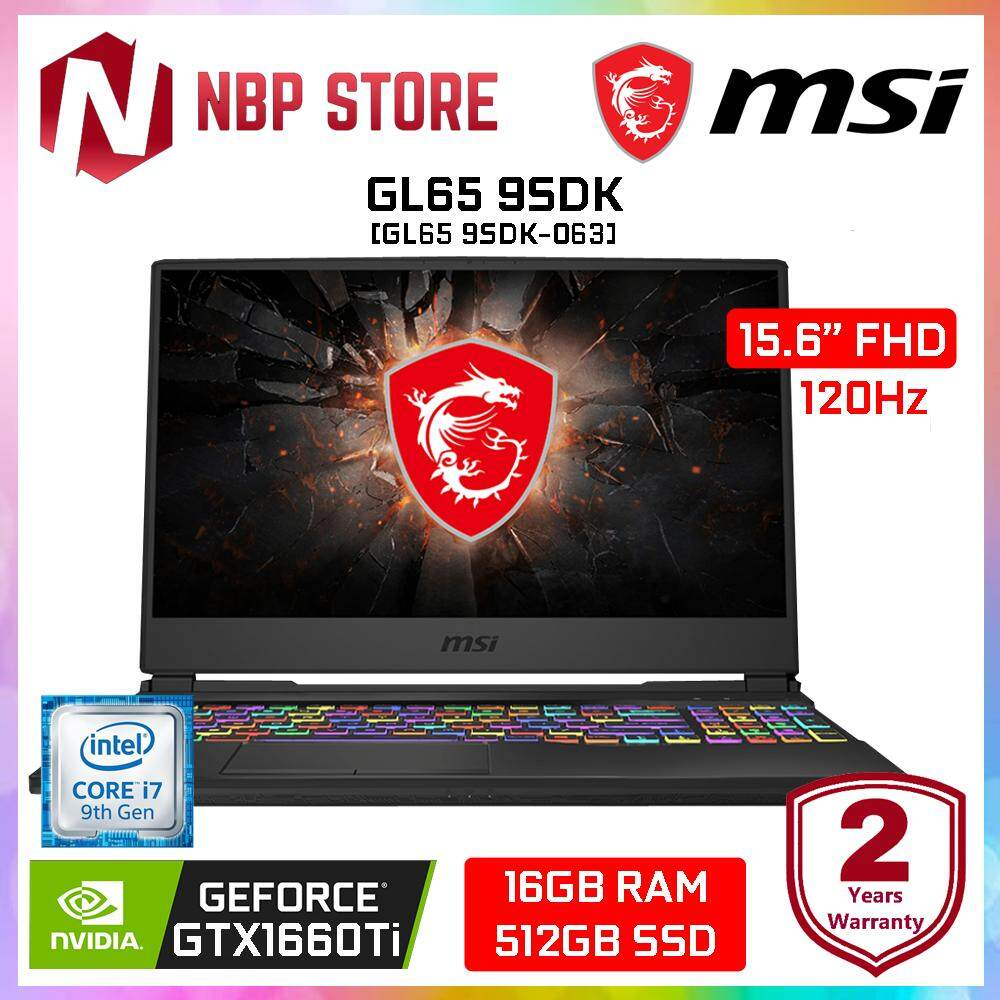 MSI GL65 9SDK-063 15.6  FHD 120Hz Gaming Laptop ( i7-9750H, 16GB, 512GB, GTX 1660Ti 6GB, W10 ) Malaysia