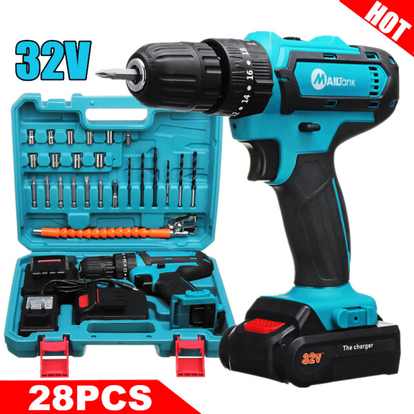 【Free Shipping 】32V 2-Speed 6000mah Cordless Drill 3IN1 Electric Screwdriver Hammer Drill Impact Drill with Battery Drill Bit Set