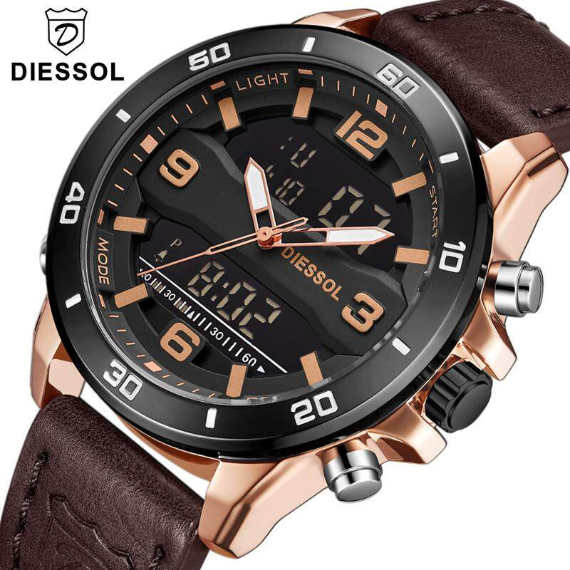 DIESSOL Mens Fashion Watches Top Luxury Brand Mens Quartz Analog Date Watch Man Leather Sports Waterproof Wrist Watch Malaysia