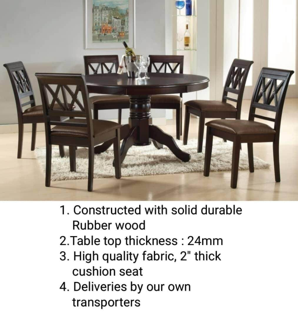 Q 10 Solid Wood 6 Seater Dining Table Solid Wood 6 Seater Round Table Dining Table Lazada