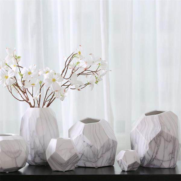 Perfk Modern Decoration White Ceramic Flower Vase Geometry Craft Creative Gift XL