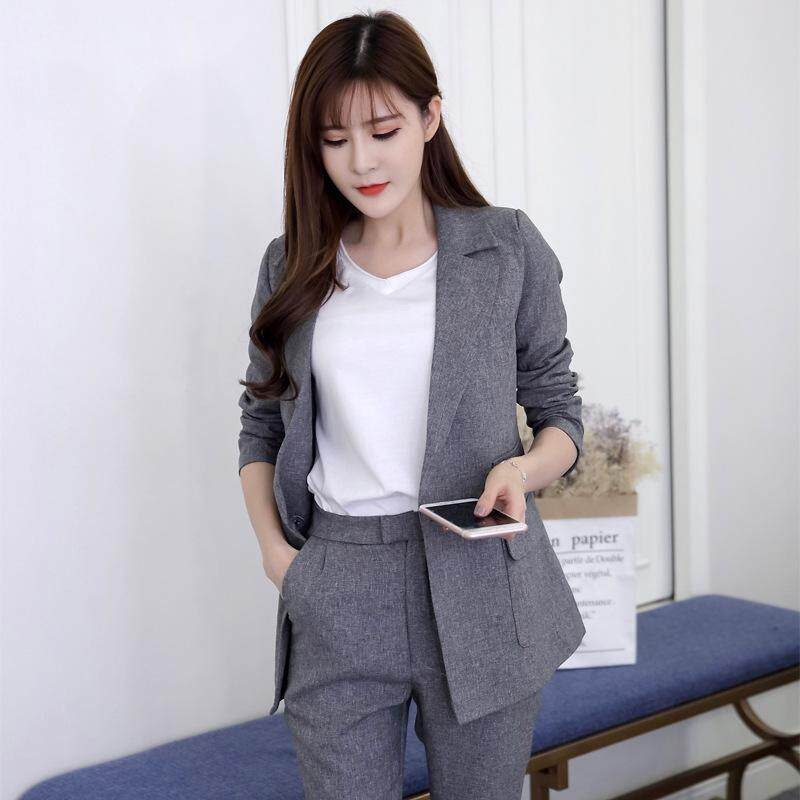 fd89d928331 Two Pieces OL Set Notched One Button Jacket and Long Pant Suits Women  Business Jackets and