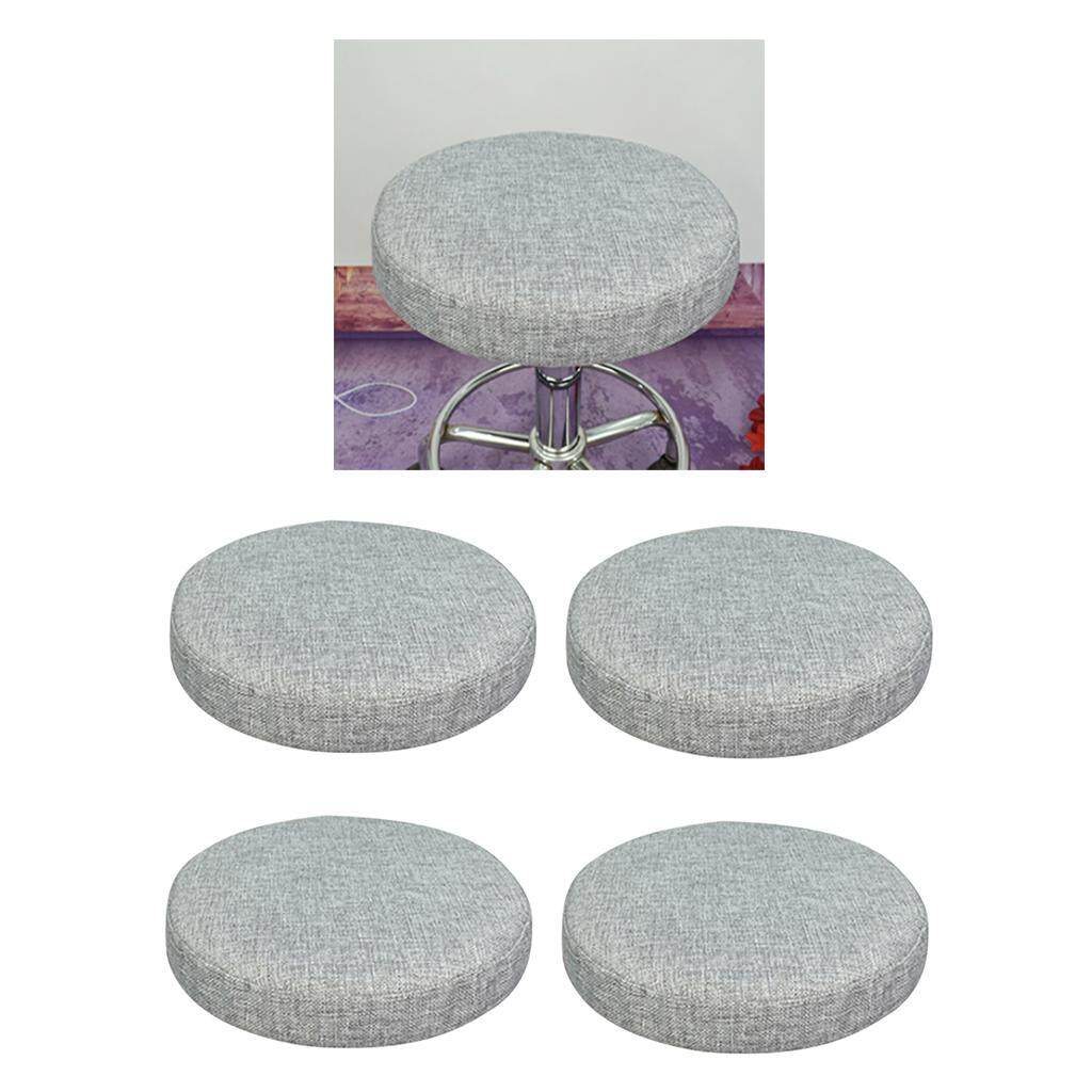 BolehDeals 4Pcs Home Bar Stool Covers Round Stool Slipcovers Linen Cotton Gray