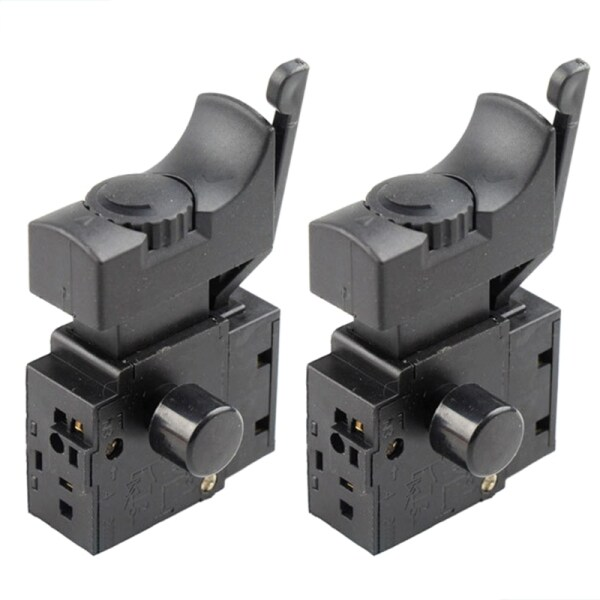 2pcs FA2-6/1BEK Lock on Power Tool Electric Drill Speed Control Trigger Button Switch 6(6)A 250V 5E4