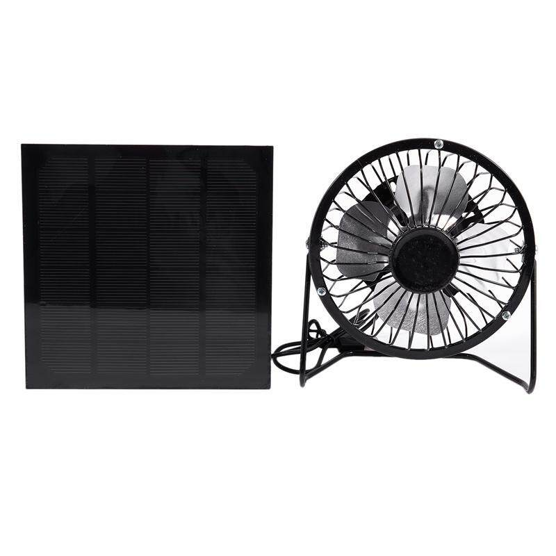 Bảng giá High Quality 4 Inch Cooling Ventilation Fan USB Solar Powered Panel Iron Fan For Home Office Outdoor Traveling Fishing Phong Vũ