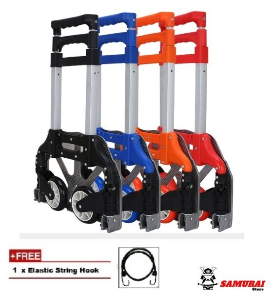Shopping Cart Aluminum Alloy Portable Trolley Foldable Loader Trolley Trailer Telescopic Type Luggage Foldable Hand Trolley Heavy Duty 75 KG Load (Black / Blue / Red/ Purple)