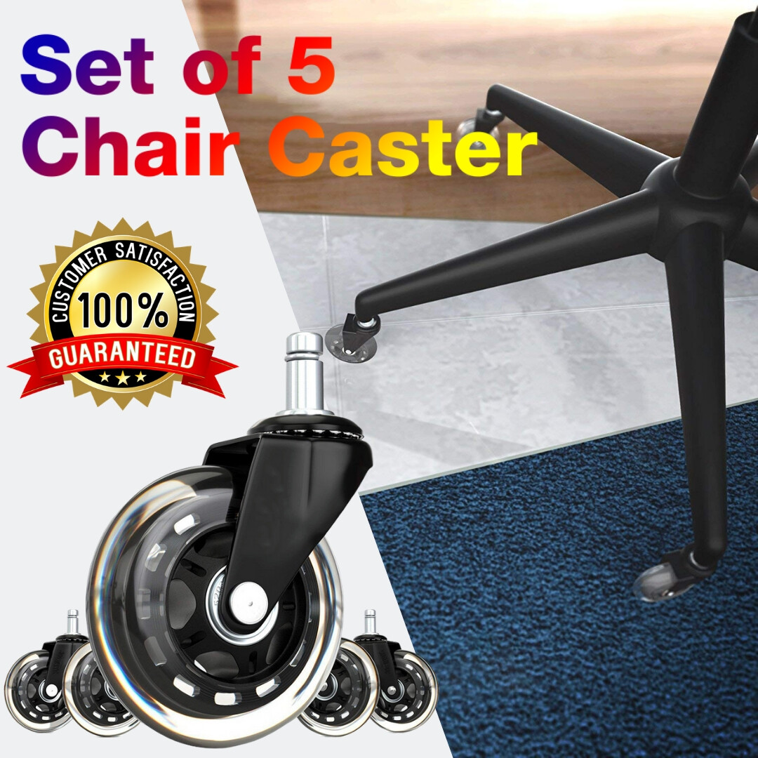 Set Of 5 Office Chair Caster Wheels Heavy Duty Safe For All Floors Replacement Rubber Chair Casters For Hardwood Floors And Carpet Lazada